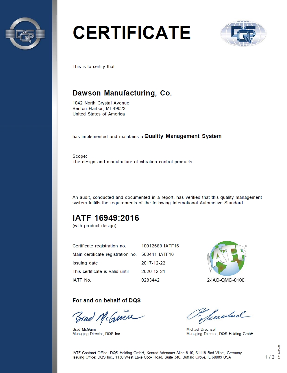 Dawson Mfg. Co. TS 16949 : 2016 Certificate